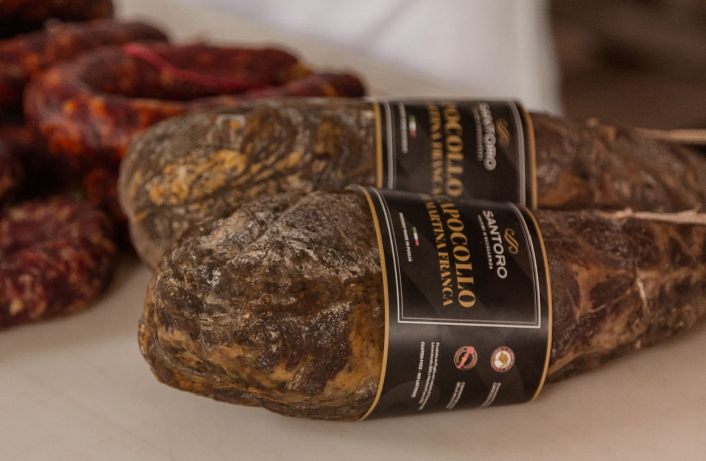 Capocolli and salami Santoro ready for sale