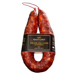 Whole Santoro spicy stirrup Salami with front positioned label