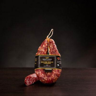 Whole and sliced piece of Santoro sweet stirred Salami