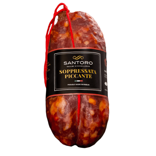Whole Santoro spicy Soppressata with front positioned label