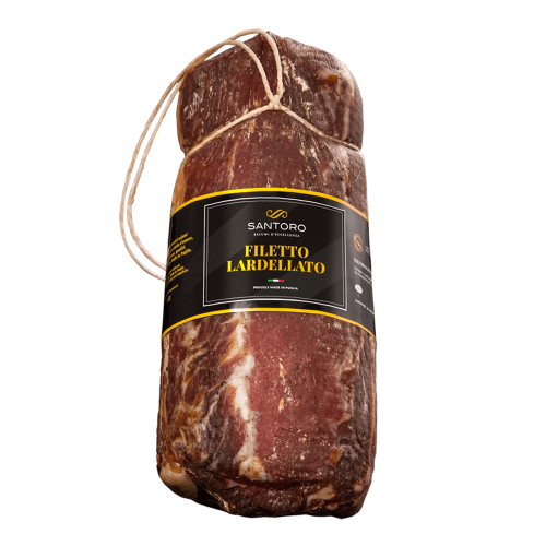 Whole Santoro filetto lardellato with front positioned label