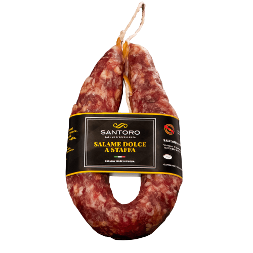 Whole Santoro sweet stirrup Salami with front positioned label