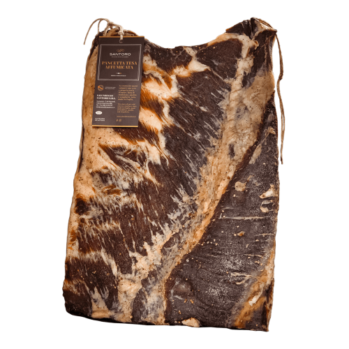 Santoro Pancetta Tesa with front positioned label